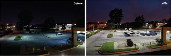 A parking lot before after